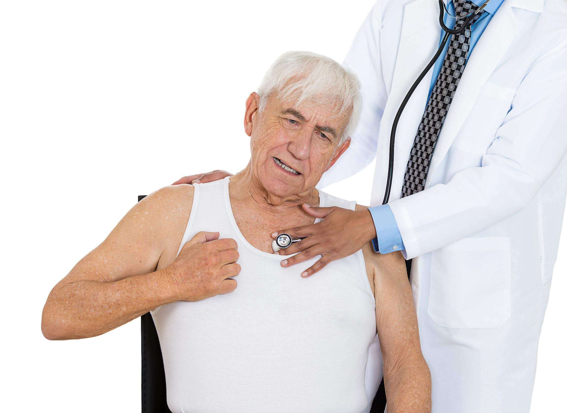 Closeup cropped portrait doctor performing heart, lungs, physical exam listening with stethoscope, on elderly, senior, mature man who has chest pain, sitting on black chair, isolated white background